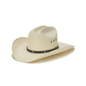 Stampede Hats - Bangora Straw 50X Western Hat with Nickel Accent Trim - Front Angle