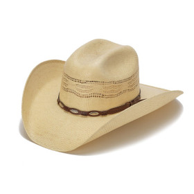 Beige 50X Bangora Cowboy Hat with Scalloped Leather Trim - Front Angle