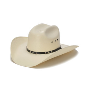 50X Shantung Cowboy Hat with Concho Black Leather Trim - Front Angle