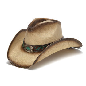 Mizzie Turquoise Gem Leaf Print Western Hat - Front Angle
