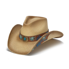 Stampede Hats - Blue Floral Leather Panama Western Hat - Front Angle