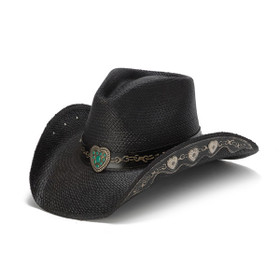 Stampede Hats - Hearts and Chains Black Straw Western Hat - Front Angle