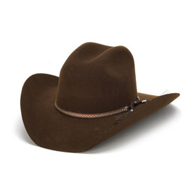 Stampede Hats - Tassel Leather Trim 100X Wool Felt Brown Cowboy Hat - Front Angle