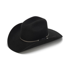 100X Wool Felt Black Cowboy Hat with Leather Tassles - Front Angle