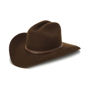 100X Wool Felt Brown Cowboy Hat with Studded Leather Trim - Front Angle