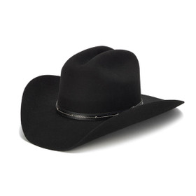 Stampede Hats - 100X Wool Felt Black Cowboy Hat with Studded Leather Trim - Front Angle