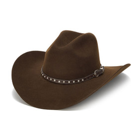 Stampede Hats - 100X Wool Felt Brown Cowboy Hat with Rhinestone Leather Trim - Front Angle