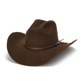 100X Wool Felt Brown Cowboy Hat with Zig Zag Leather Trim - Front Angle