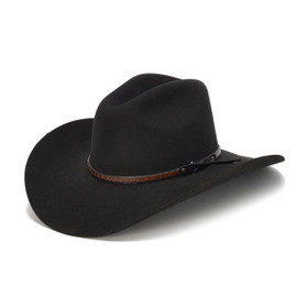 Stampede Hats - 100X Wool Felt Black Cowboy Hat with Zig Zag Leather Trim - Front Angle