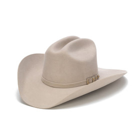 Stampede Hats - 100X Wool Felt Beige Cowboy Hat with Silver Buckle - Front Angle