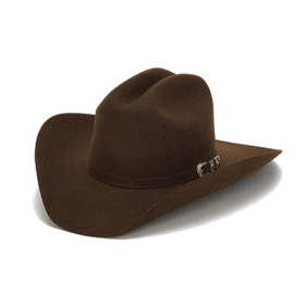Stampede Hats - 100X Wool Felt Brown Cowboy Hat with Silver Buckle - Front Angle