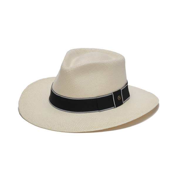Austral Hats - White Panama Hat with Flat Bow and Grey Band - Front Angle