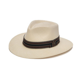 Austral Hats - White Panama Hat with Black, Brown and White Stripes - Front Angle