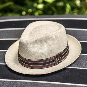 Austral Hats - Beige Panama Hat with Black, Brown and White Stripes
