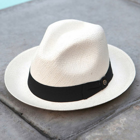 Austral Hats - White Panama Hat with Black Bow Band