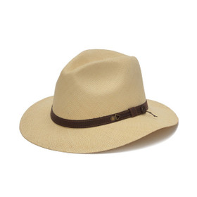 Austral Hats - Beige Wide Brim Panama Hat with Brown Band - Front Angle