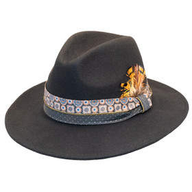 Jeanne Simmons - Wool Felt Fashion Fedora w/ Feather - Black