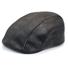 Henschel - Faux Leather 6 Panel Driver Cap in Black - Full