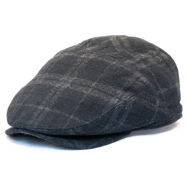 Henschel - Wool Blend Flat Cap with Ear Flaps in Black - Full