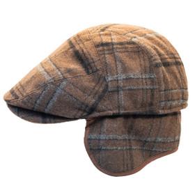 Henschel - Wool Blend Flat Cap with Ear Flaps in Brown - Side/Unfolded