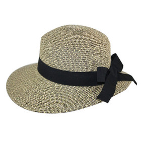 Jeanne Simmons - Asymmetrical Sun Hat Black Tweed