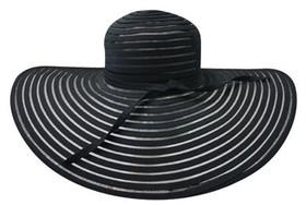 Jeanne Simmons - Large Brim Horsehair Fancy Hat Black