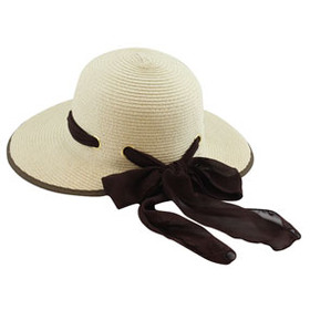 California Hat Company - Ladies Scoop Hat With Ribbon Beige