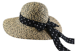 California Hat Company - Ladies Raffia Hat With Scarf Natural/Black