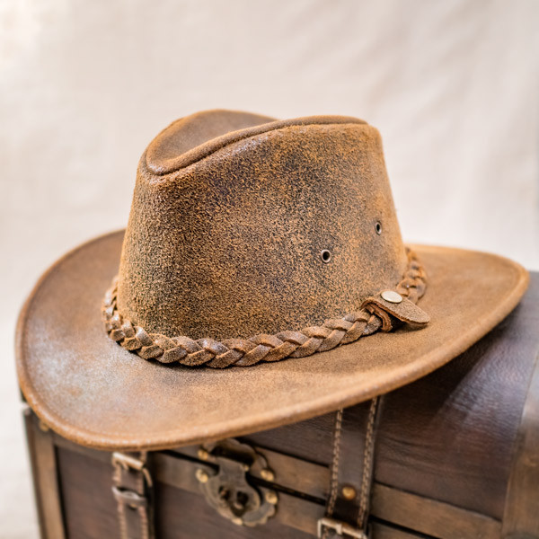 Henschel Outback Leather Hat - Stock Image