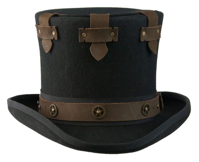 """Conner - Black Steampunk """"Boss"""" Top Hat (Front)"""