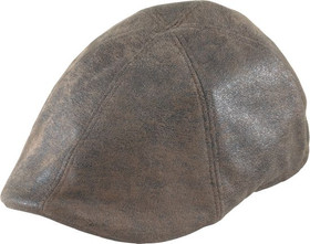 Henschel - Brown Distress Faux Leather Duckbill Cap