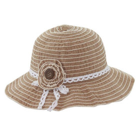 California Hat Company - Brown Crushable Bell Hat with Flower