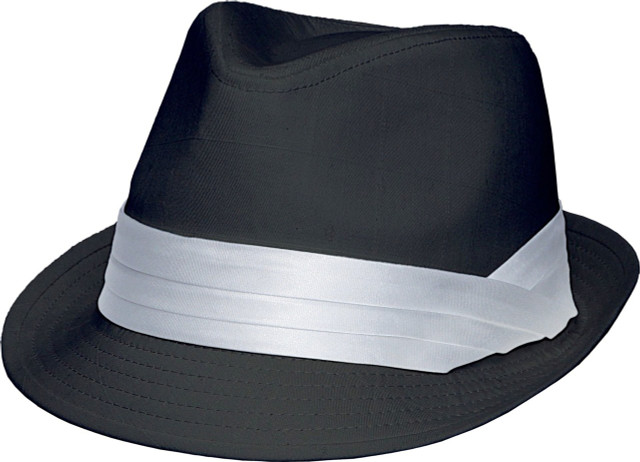 Kenny K - Black on White Fedora Hat