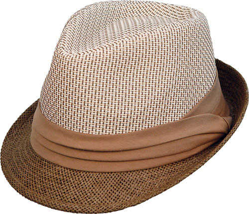 Kenny K - Brown and Tan Toyo Fedora Hat