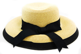 Karen Keith - Wheat Black Toyo Braided Cloche Hat