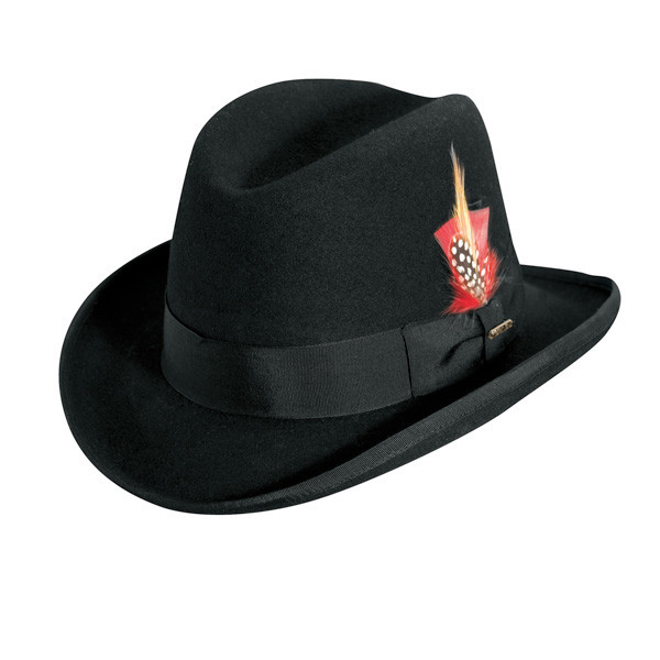 Scala - Black Homburg Wool Felt Godfather Hat