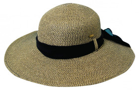 Scala - Two Tone Paper Braid Sun Hat Navy