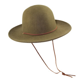 "Jeanne Simmons - Olive Wool Felt 3.5"" Brim Hat with Strap"
