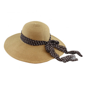 California Hat Company - Beige Straw Wide Brim Hat with Scarf