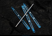 EDC BM6x-Ti Scales Only - Gunner Satin Flutes and Sides - Blue