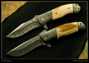 "Fraley - 5"" Damascus and Walrus Ivory Flippers Pair"