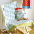 David Fussenegger Green Harlequin Juwel Bassinet Blanket with Puppet