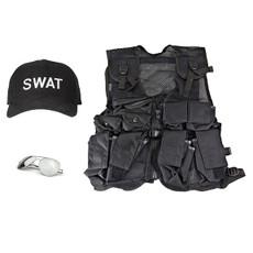 Tuff Cop Aviator Glasses, Cap - SWAT Insignia, Kids Army Combat Vest - Black