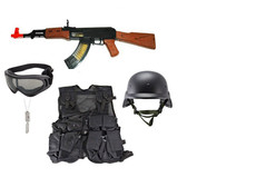 Toy Special Forces AK-47, Sportac Goggle Glasses - Black, Kids Army Combat Vest - Black, M88 Replica Helmet - Black, Sportac Goggle Glasses - Black, Army Style Dog Tags with Engraving