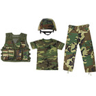 M88 Replica Helmet with Woodland Camouflage Cover, Kids Army Camouflage Combat Vest - Woodland, Kids Woodland Camouflage T Shirt,  Kids Woodland Camouflage BDU Pants