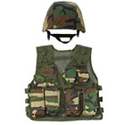 M88 Replica Helmet with Woodland Camouflage Cover, Kids Army Camouflage Combat Vest - Woodland