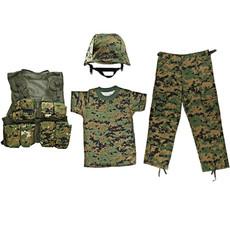 M88 Helmet with Woodland Digital Cover, Kids-Army Woodland Digital Combat Vest, Woodland Digital Camo T Shirt, Woodland Digital BDU Pants