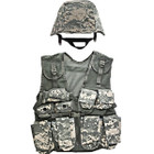 Kids Army Camouflage Combat Vest - ACU Digital, M88 Replica Helmet with ACU Digital Camouflage Cover