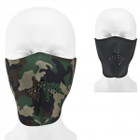 Reversible Neoprene Half Facemask - Black and Woodland Camo