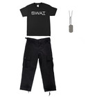Kids T-Shirt - SWAT Insignia, Kids BDU Pants - Black, Army Style Dog Tags with Engraving